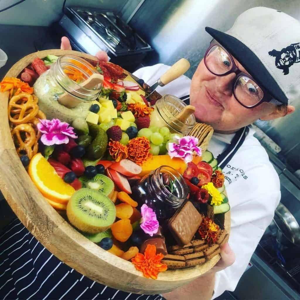 Chef Jemma Wickham with a Platter of Goodies